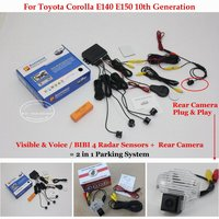 Liislee For Toyota Corolla E140 E150 10th Car Parking Sensors + Rear View Camera = 2 in 1 Visual / BIBI Alarm Parking System