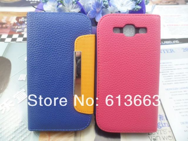 Wholesale 10pcs/lot PU Leather Wallet Card Flip Case Cover + Strap Fit For samsung galaxy s3 i9300,free shipping
