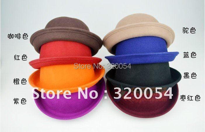 осень и зима взрослые мужчины и женщины чистой шерсти шляпы, англия ретро шерсть котелок шапки, многоцветный, бесплатная доставка