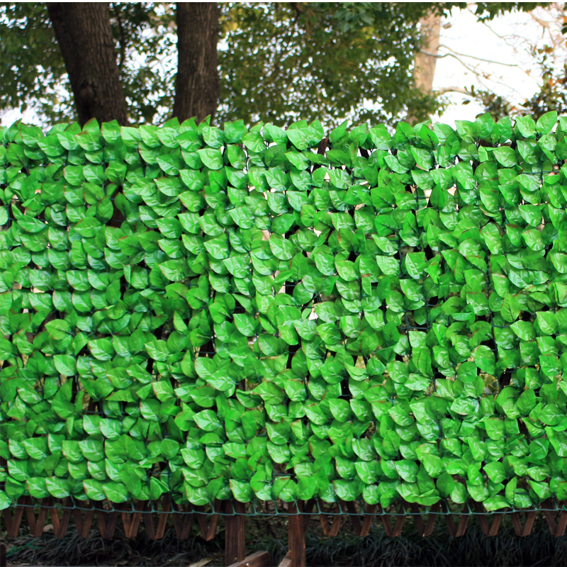 1mx3m artificial green hedge plant fake plastic fence rose leaves for garden fence chain link fence