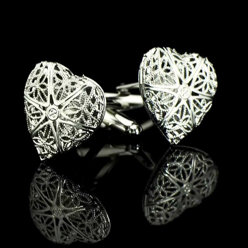 Жених Свадебная вечеринка запонки из нержавеющей стали тельняшки запонки полые Персиковое сердце Серебристые запонки с подарочной сумкой