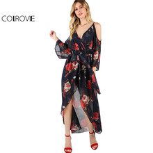 COLROVIE Floral Beach Dress Women Navy Cold Shoulder Surplice Wrap Cami Summer Dresses 2017 Elegant Tie Waist Boho Long Dress