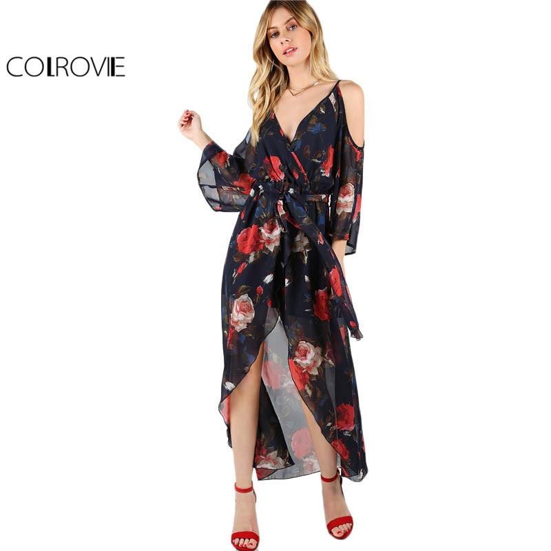Colrovie floral beach dress women navy espalda sobrepelliz wrap cami vestidos de