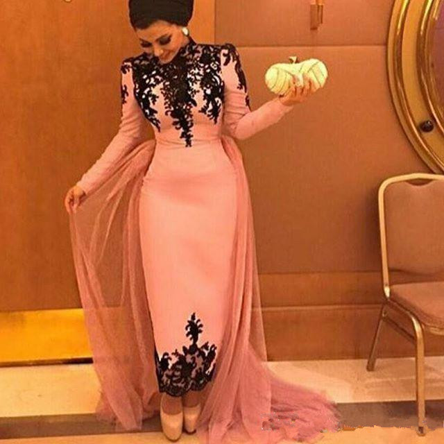 Pink Muslim   Evening     Dresses   2019 Sheath Long Sleeves Appliques Lace Formal Islamic Dubai Saudi Arabic Long Prom   Evening   Gown