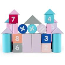 50Pcs/Set Wooden Macaroon Blocks Construction Building Numbers Block Learning Compatible LegoINGlys DuploED Toys for children недорого