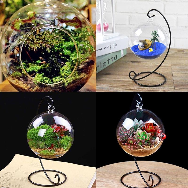 Vase Globe-Rack-Holder Terrarium Glass-Ball Hanging Metal-Stand Fish-Fish-Flower-Plant