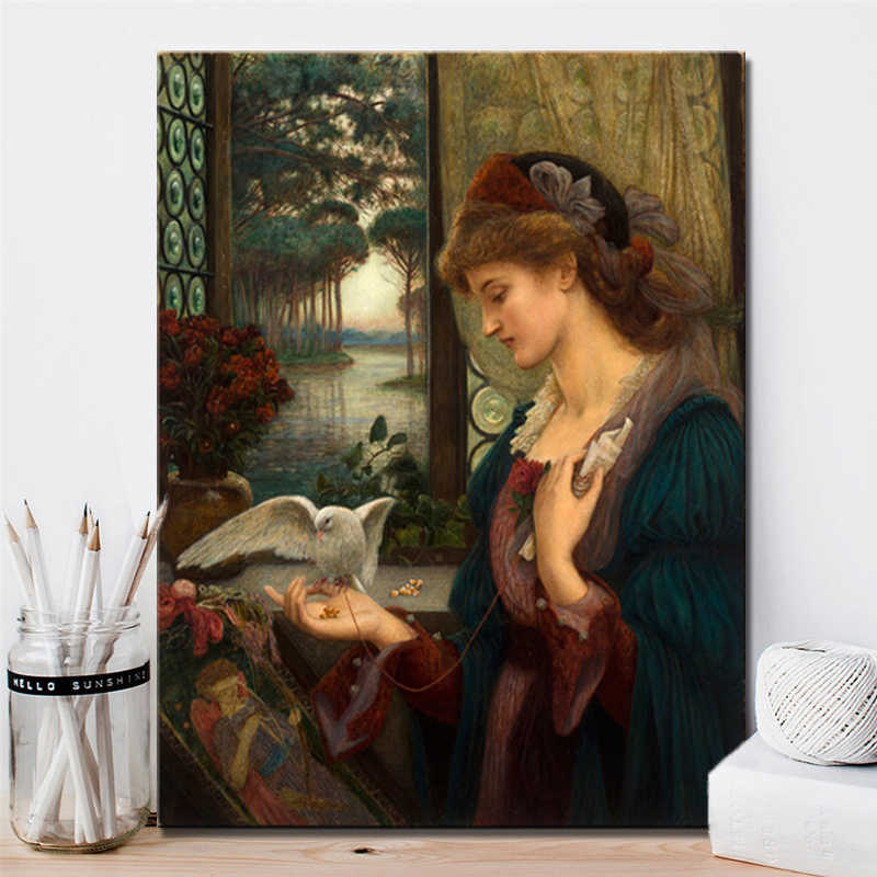British Painter Marie Spartali Stillman Love's Messenger Posters and Prints Wall Art Canvas Painting Home Decor for Lover Gifts