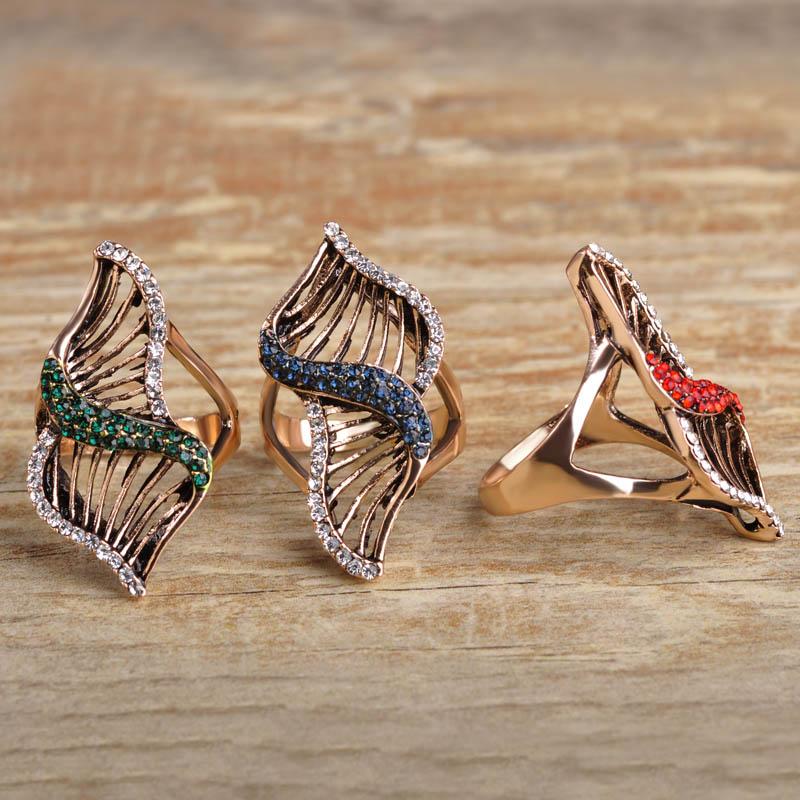 Turkish Jewelry Geometric Wide Finger Rings For Women Men Antique Gold Color Crystals Bague Hollow Red Color Vintage Anillos