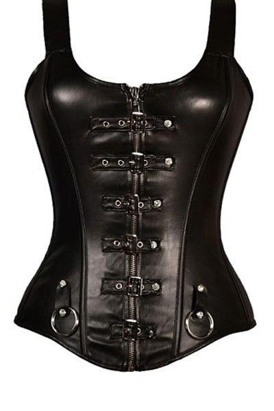 Mais mulheres do tamanho Detalhe Punk Buckled Straps Completa Zipper de Couro Preto do Espartilho LC5310 moda hot brocade steampunk corsets 2017