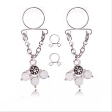 New Style Trendy Non pierced Clip On Nipple Ring Women Sexy Fake Nipple Rings Fashion Tree Dangle Adjustable Sexy Body Jewelry