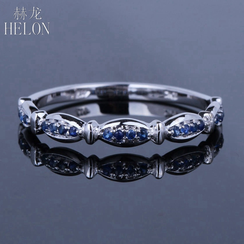HELON Real 10K White Gold 100% Genuine Natural Sapphire Engagement Ring Women Wedding Gemstone Band Exquisite Party Gift JewelryHELON Real 10K White Gold 100% Genuine Natural Sapphire Engagement Ring Women Wedding Gemstone Band Exquisite Party Gift Jewelry
