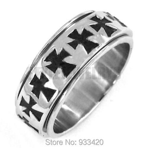 Free shipping! Cool Cross Ring Stainless Steel Jewelry Gothic Motor Biker Ring Punk Men Ring SWR0242