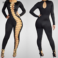 Sexy Club Jumpsuits 2016 Bandage Hollow Out Jumpsuit Long Sleeve Elegant Bodycon Bodysuit  Rompers Womens Jumpsuit