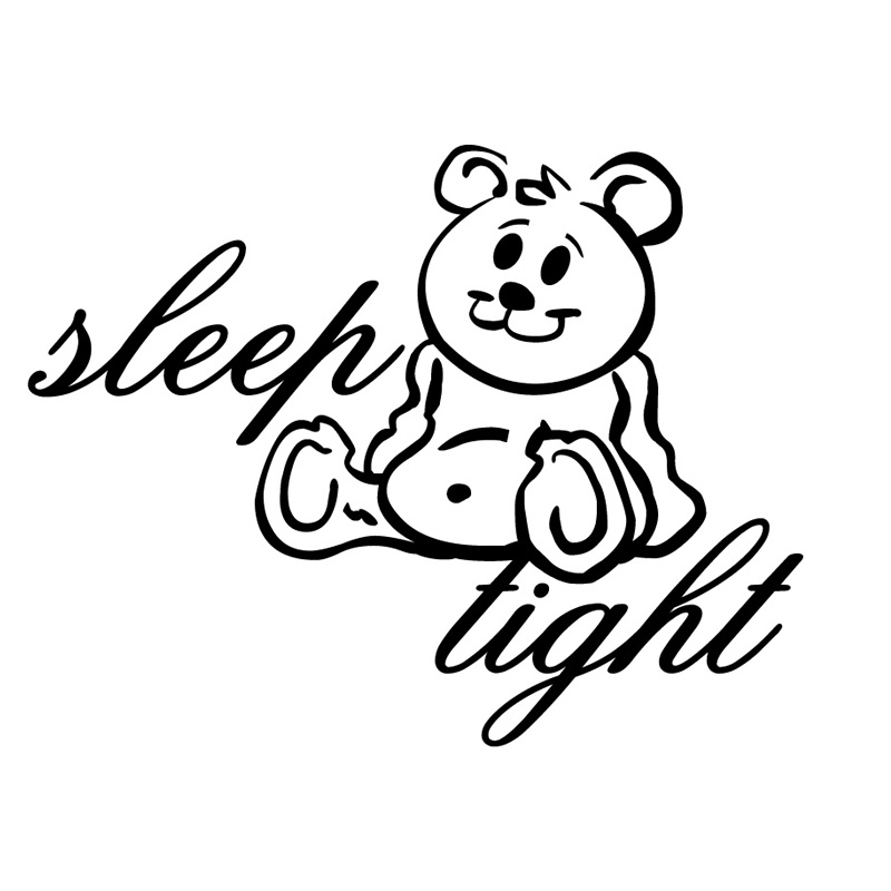 Sleep Tight Teddy Bear Wall Sticker Cartoon Girls Bedroom Decorative Vinyl Animal Wall Decal Hot Sale