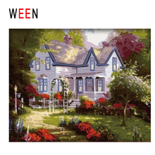 WEEN Quiet Villa Diy Painting By Numbers Abstract Tree Path Oil On Canvas Cuadros Decoracion Acrylic Wall Art Decor