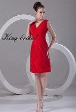 Helle Red Sexy V-ausschnitt Chiffon Kurze Brautkleider 2017 Sleeveless Falten Mantel Spalte Knielangen Cocktail Party Kleid Kleider