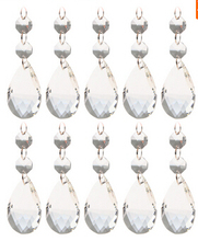 10pcs Lot Diamond Cut Clear Teardrop Crystal With Double Octogon Chandelier Prisms