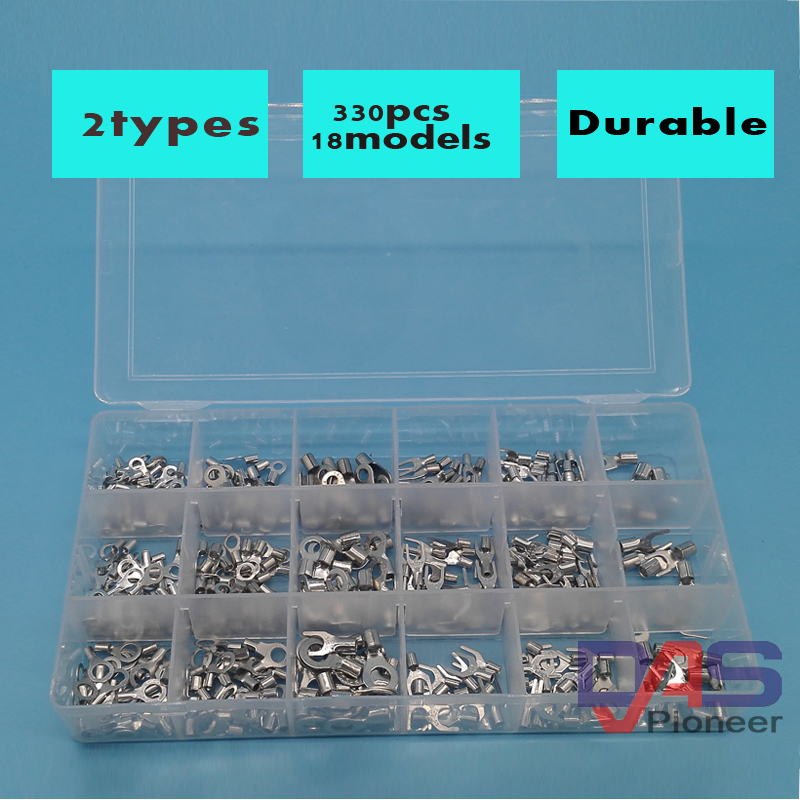330pcs/lot Assorted Non-Insulated Ring Fork U-type Terminals Assortment Kit Electrical Crimp Spade Set Lug Cable Wire Connector 1000pcs electrical wire connector insulated crimp terminals kit spade assorted set fork ring assorted set with box