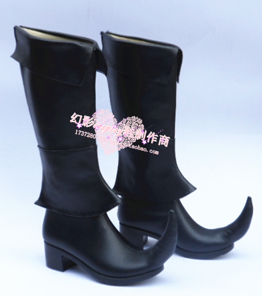 Magic Flute Magi Black Halloween Long Cosplay Shoes Boots H016