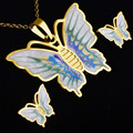 Gold plated Colorful Enamel Butterfly Jewelry Set,stainless steel Necklace/Stud Earrings Sets ,Wedding party Jewelry for women