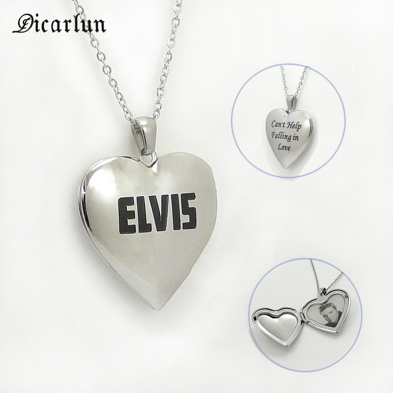 DICARLUN Heart Necklace Letter Elvis Song Openable Photo Locket Pendant Stainless Steel Collar Chain Jewelry Gifts For Women Men image