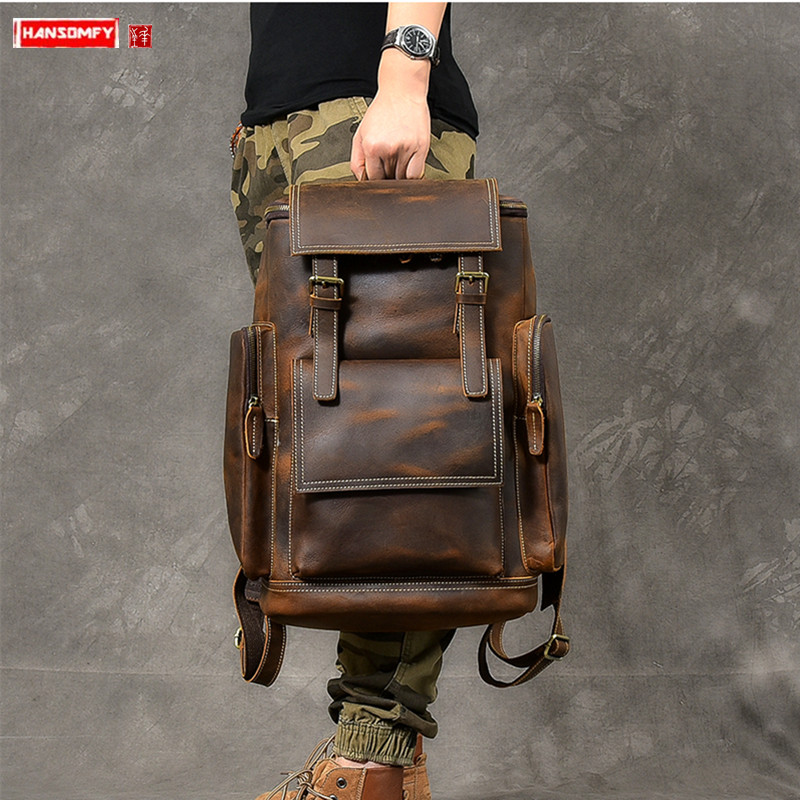 Retro Crazy Horse Leather Men's Backpack Male Computer Bag Large Capacity 15.6 Inch Laptop Bags Genuine Leather Travel Backpacks