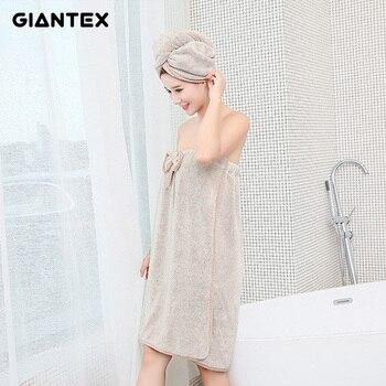 GIANTEX Bowknot Mulheres toalhas de Banho de Microfibra Super-Absorvente de secagem Rápida Toalha de Banho Roupão De Banho Toalha Cabelo Seco Cap Set u1798