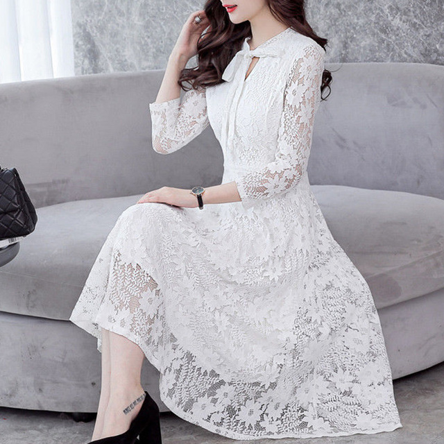 Lace Dress Women Long Sleeve White Pink Pleated Dress Vintage Party  Cocktail Casual Floral Midi Dresses 2018 7e5f98284e