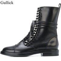 Gullick Black Leather Złoty Łańcuch Botki Okrągły Nosek sznurowane Płaskie Krótkie Buty Zimowe Kobiety Pozbawienie Boot Strap motocykl Boot