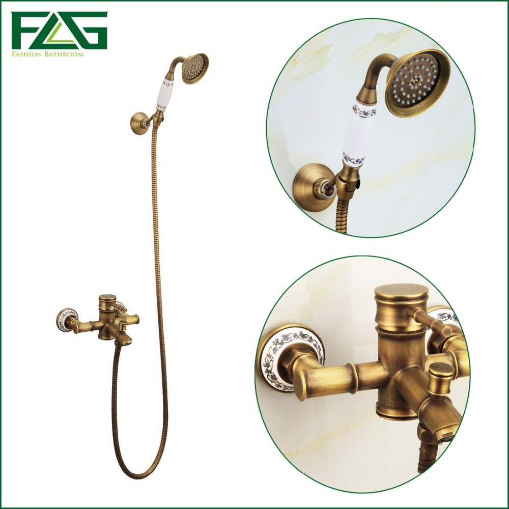 Free Shipping Bamboo Shower Faucet Mixer Tap + Ceramic Antique Brass Bath Shower Faucet Set Bathtub Faucet Single Handle HS003 wall mount single handle bath shower faucet with handshower antique brass bathroom shower mixer tap