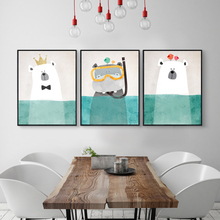 FULL HOUSE Nordic Style Kids Room Decor Cartoon Animals Art Print Posters Cute Polar Bear Penguin Canvas Painting Wall Pictures