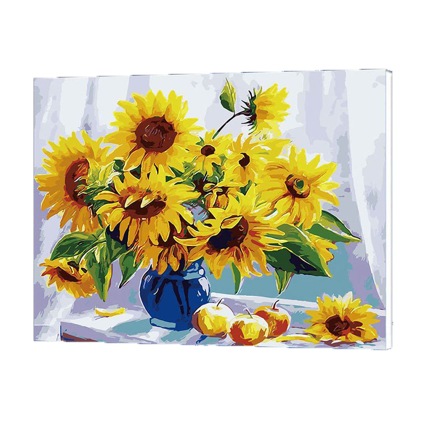 Online get cheap sunflowers oil paintings for How to canvas art
