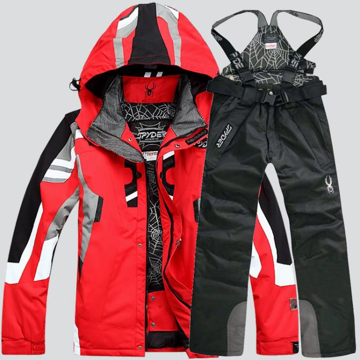Ski Suit Male Windproof Waterproof Thicken Snow Clothes For men Snowboard Jacket Pants Suit Winter Skiing Coat Trousers ski jacket and pants suit hiking camping climbing waterproof windproof thermal thicken coat and trousers set 2017 winter men