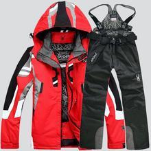 Traje de esquí masculino cortavientos impermeable espesar nieve ropa para  hombres chaqueta de Snowboard pantalones traje 4bd48fb6123