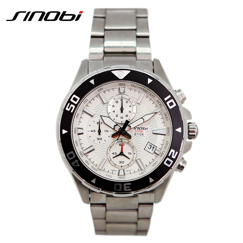 467c5771af3 SINOBI Minutes Display Mens Watch Complete Calendar Stainless Steel Band Relogio  Masculino 2019 Stop Watch Mens