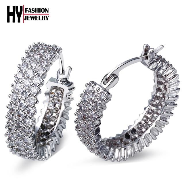 Hy хооп серьги для женщин оптово-имитация ювелирных изделий с бриллиантами позолоченные с белым CZ мода букле D'oreille день святого валентина подарок