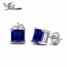 JewelryPalace Square 0.8ct Created Blue Sapphire 925 Sterling Silver Stud Earrings For Women Fashion Jewelry Best Gift To Friend