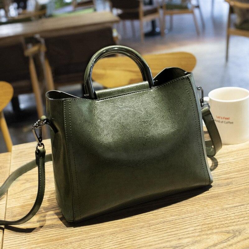 2019 nova chegada saco das mulheres bolsa de couro de cera de petróleo retro bolsas das senhoras sacos de moda saco pequeno saco de ombro compras queda c811