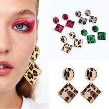 Cuteeco Geometric Leopard Drop Earrings For Women Boho Vintage Long Dangle Earring Rhombus Pendant 2019 New Jewelry Wholesale