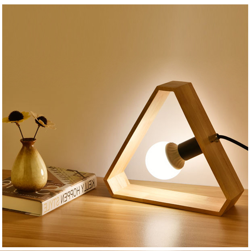 Art Wood Desk Lamps Nordic Modern Triangle Table Light With E27 Bulb for Living Room Bedroom Bedside Table Lamp Decoration vintage handmade art retro wood tripod table lamps desk light searchlight alumnum metal copper lampshade nordic design tll 4
