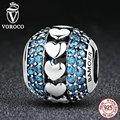 Voroco novo 925 coração a coração encantos de prata com azul pequenos cristais beads fit pandora pulseiras bijuterias c082