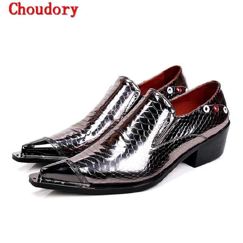 Altos En Oxfords Costura Estrecha Tacones 2017 Punta Vestido Zapatos Verano Partido Charol A Hombre Resbalón Británico Metal Hombres Fqzq170