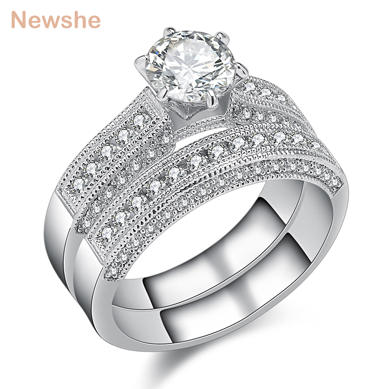 1.20 Ct Diamond Engagement Ring Set 925 Sterling Silver Wedding Band Set Size M Fine Jewellery Fine Rings