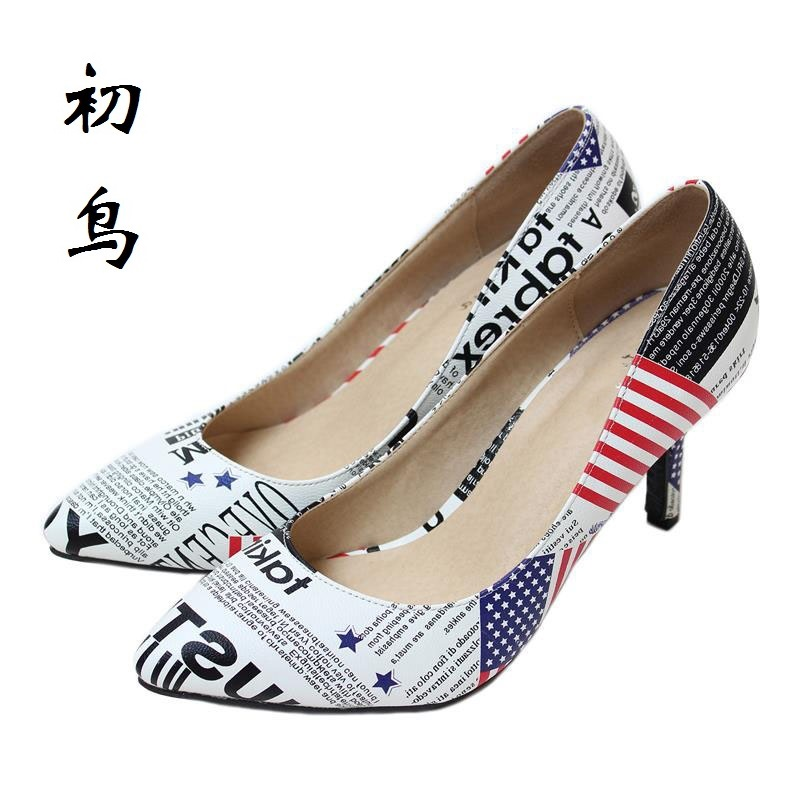 2017 Size 33-41 Fashion American Flag White Sexy High Heels Women Pumps Ladies Shoes Woman Chaussure Femme Talon Mariage 34 40