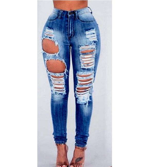 New MIX Juniors Jeans Women Pant High Waist Blue Denim Stretch JEANS Skinny Ripped Distressed Pants