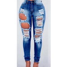 42bf8060198c6b MIX Juniors Women High Waist Blue Denim Stretch JEANS Skinny Ripped  Distressed Pants