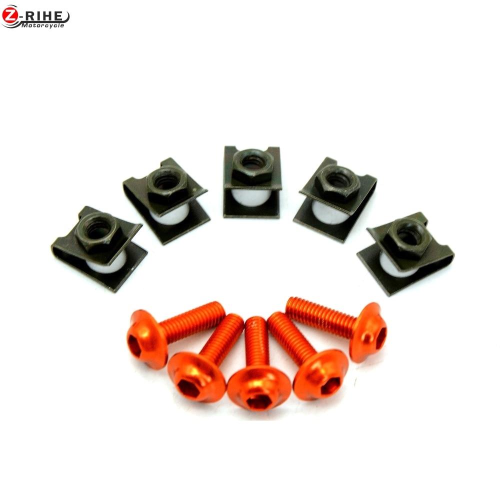 5 pcs Motorcycle universal Vehicle screw Motorbike CNC Fairing body work Bolts Screws For SUZUKI GSX-R GSXR 600 750 GSX-R1100 r3