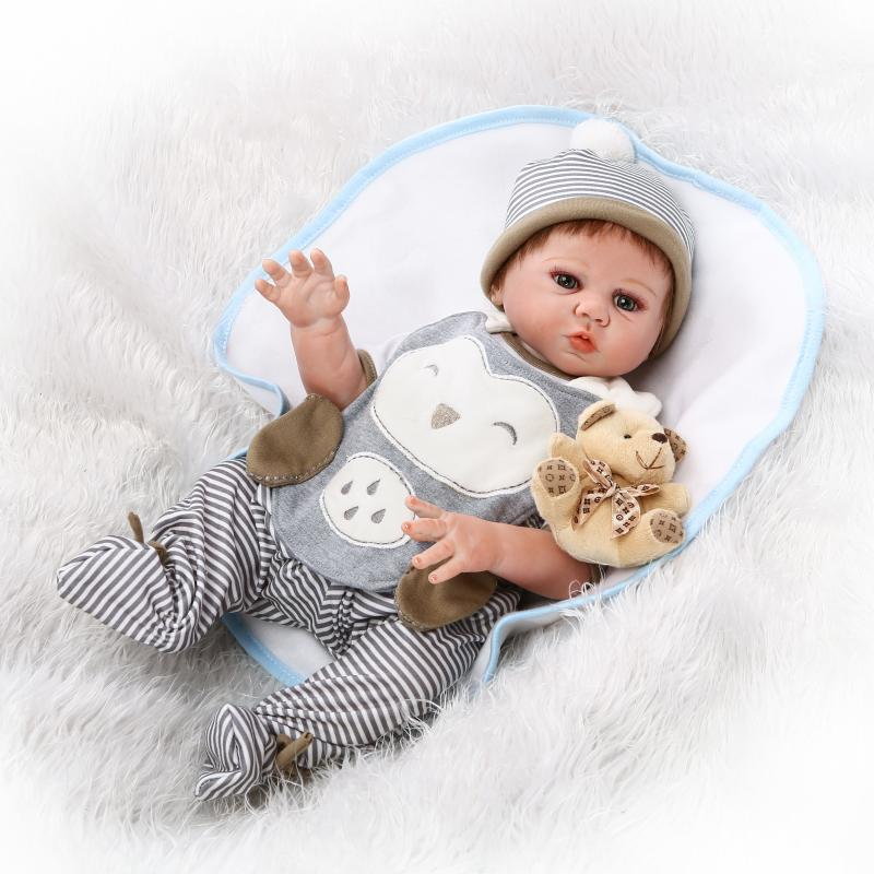 New 50cm Full Silicone Bebe Reborn Baby Boy Dolls Newborn Boys Babies Doll for Child Bath Shower Bedtime Toy Doll GIfts