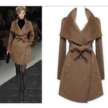 2016 European New Fashion Women's Long Winter Coat Solid Color Turn-down Collar Slim Overcoat Female Woolen Jackets Outwear