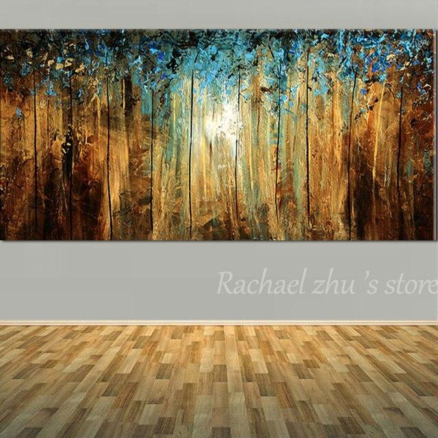 Abstrakte Kunst Leinwand neue handgemalte abstrakte kunst blauer baum landschaft Ölgemälde